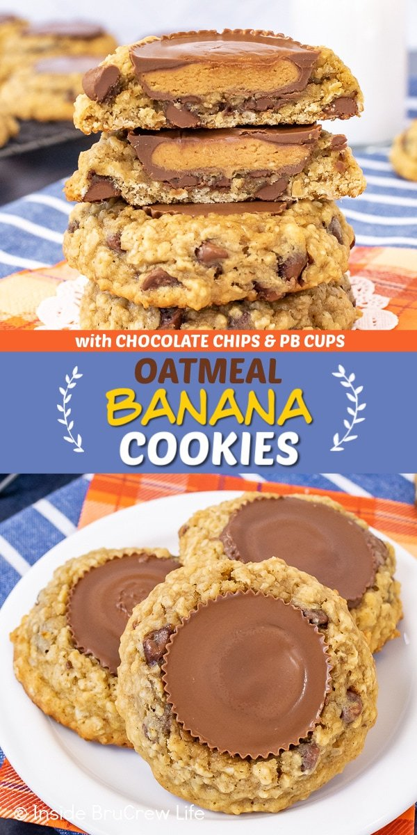 Two pictures of oatmeal banana cookies collaged together with a blue text box