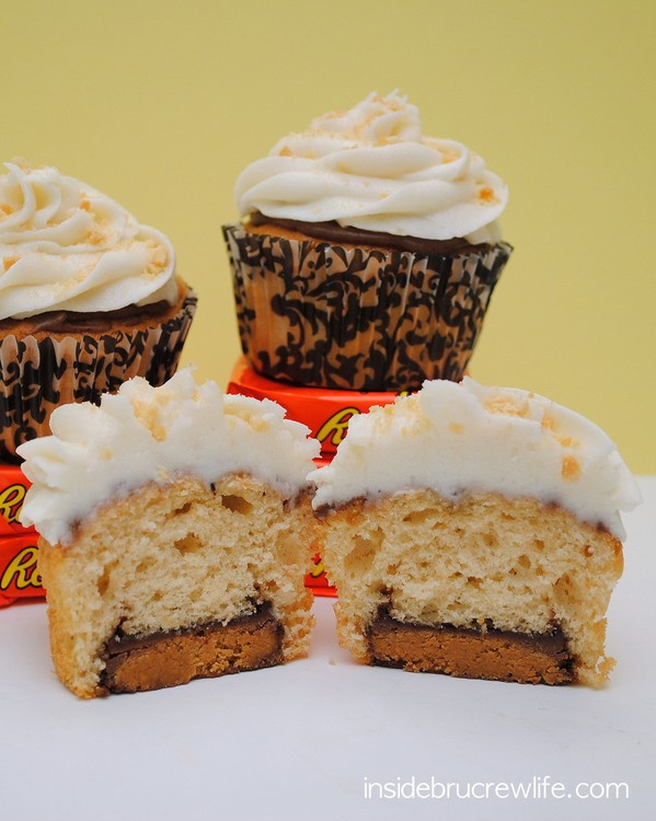 Peanut butter cupcakes, Reese's peanut butter cups, and banana butter cream makes these a decadent and fun cupcake to serve at any party.