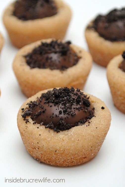 Peanut Butter Oreo Truffle Cookie Cups - peanut butter cookies with an ...