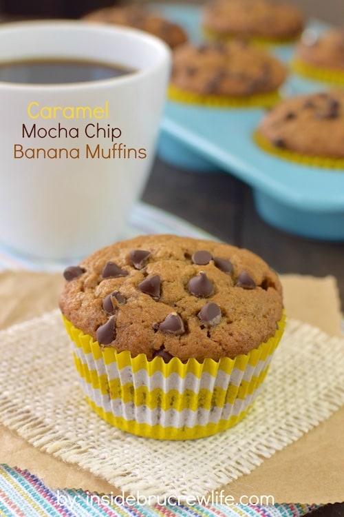 Coffee and caramel give these banana muffins a fun and delicious twist! Perfect for breakfast or after school snacking!