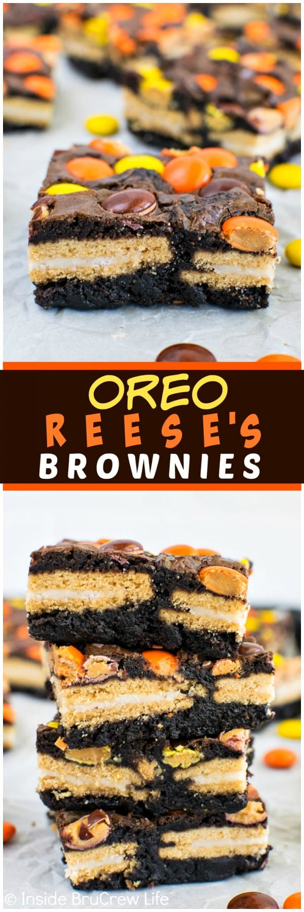 Oreo Reese's Brownie Bars - these easy brownies are loaded with cookies and candies! Perfect dessert recipe!