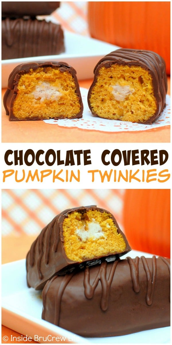 Cinnamon buttercream filling and chocolate coating makes these pumpkin twinkles a sweet fall treat.