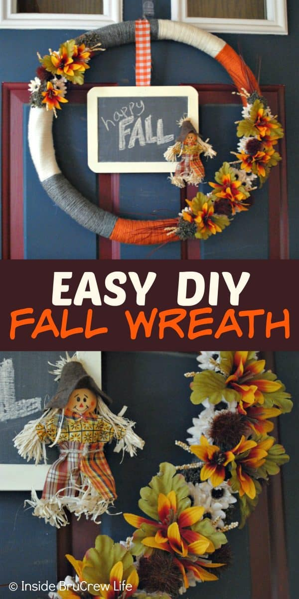 Easy DIY Fall Wreath - this easy fall wreath can be made with just a few materials. Make this fun DIY craft to add some fall flair to your front door! #wreath #craft #burlap #fall #easy #DIY #chalkboard