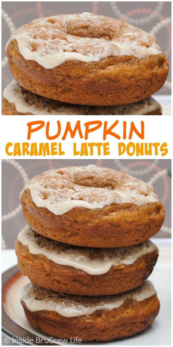 Coffee and caramel in these baked pumpkin donuts makes a great breakfast.