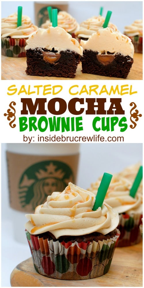 Salted Caramel Mocha Brownie Cups - salted caramel frosting and a hidden caramel candy makes these brownie cups a hit every time. Make this easy recipe for any party or picnic and watch them disappear. #brownies #cupcakes #frosting #saltedcaramel #recipe #sweetandsalty