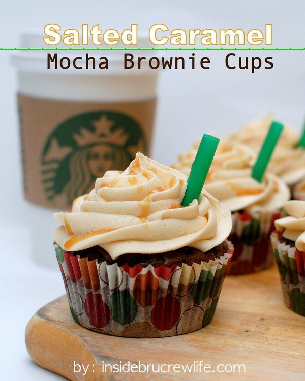 Salted Caramel Mocha Brownie Cups - a hidden caramel candy and salted caramel frosting makes these brownies disappear in a hurry. Make this easy recipe for parties and picnics and watch everyone smile. #brownies #cupcakes #frosting #saltedcaramel #recipe #sweetandsalty
