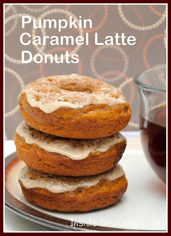 Pumpkin Caramel Latte Donuts - get a quick caffeine fix with these yummy pumpkin donuts.