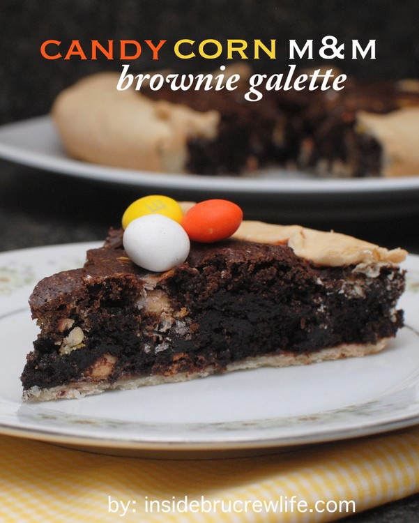 Candy Corn M&M Brownie Galette