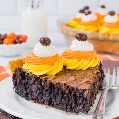 Candy Corn M&M Brownie Pie
