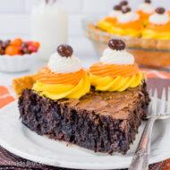 Candy Corn M&M Brownie Pie