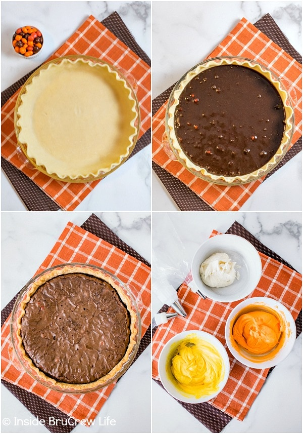 Four pictures showing how to make a candy corn m&m brownie pie collaged together