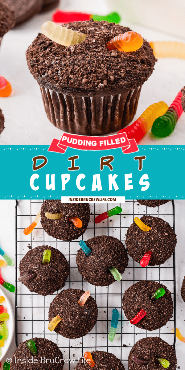 Two pictures of Dirt Cupcakes collaged together with a teal text box.