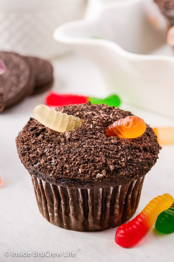 A chocolate cupcake with Oreo crumbs and a gummy worm on top on a white background.
