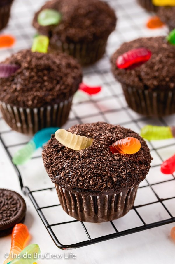 A black wire cooling rack with chocolate cupcakes topped with Oreo crumbs and gummy worms on it.