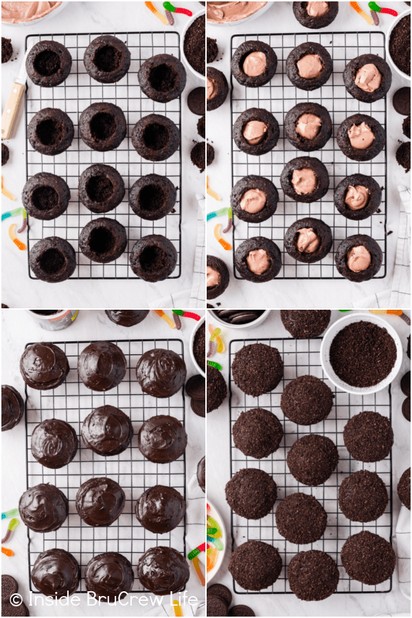 Four pictures collaged together showing the steps to filling and frosting dirt cupcakes.