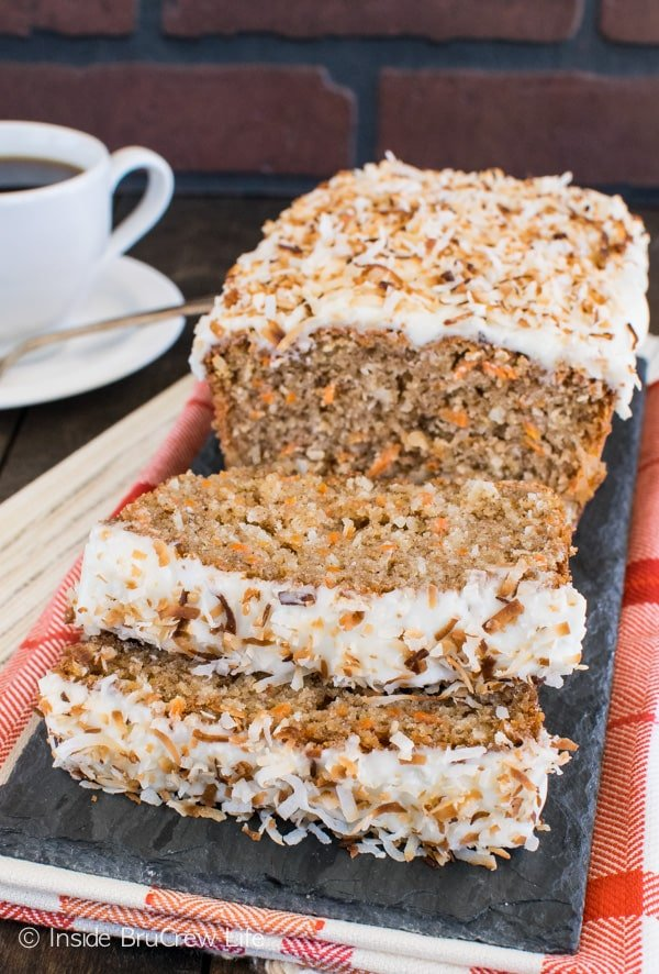 Carrot Coconut Bread - Adding lots of carrots and coconut makes this sweet bread an acceptable recipe for breakfast. Try this recipe for brunch or breakfast! #sweetbread #carrotcake #coconut #carrot #easter