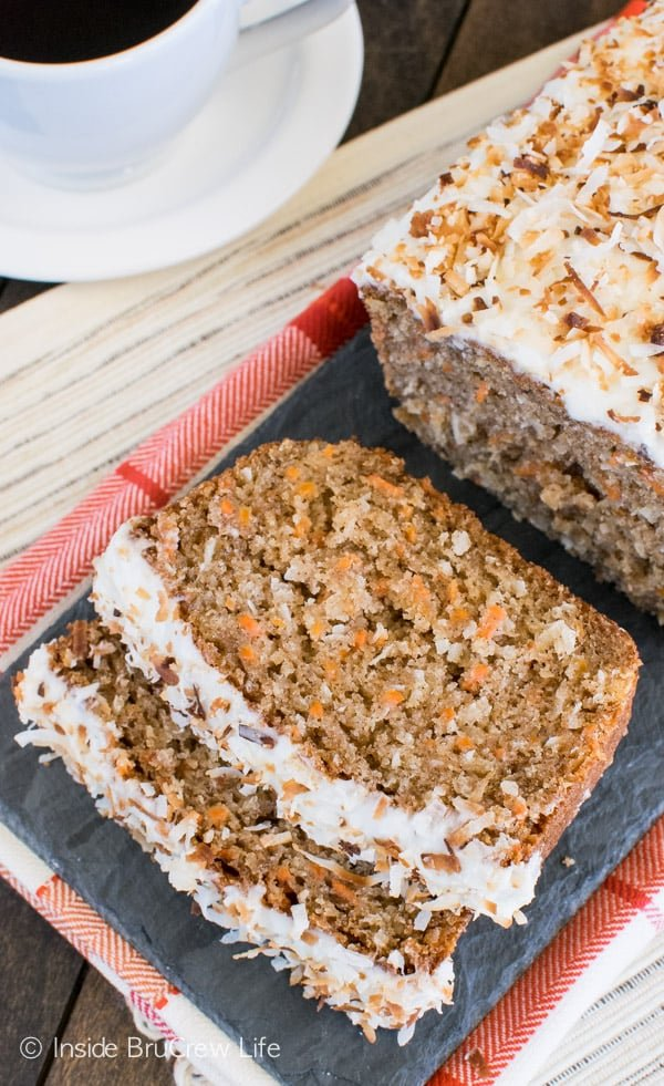 Carrot Coconut Bread - a soft sweet bread that tastes like eating cake for breakfast. Delicious recipe for brunch or breakfast! #sweetbread #carrotcake #coconut #carrot #easter