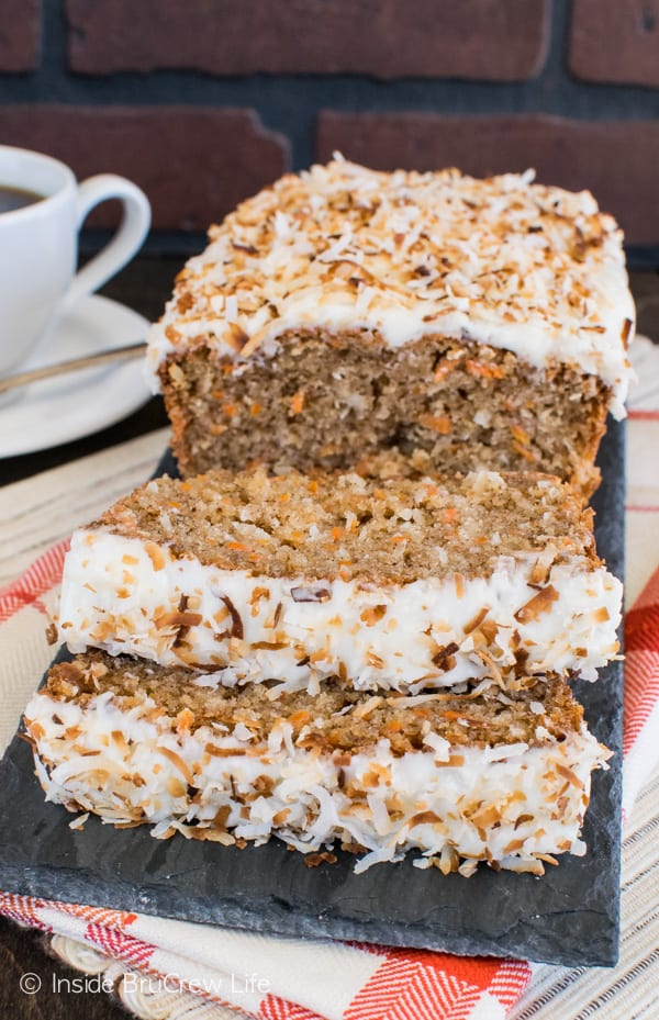 Carrot Coconut Bread - carrots and coconut make this sweet bread taste like you are eating cake for breakfast. Try this easy recipe for brunch or breakfast! #sweetbread #carrotcake #coconut #carrot #easter