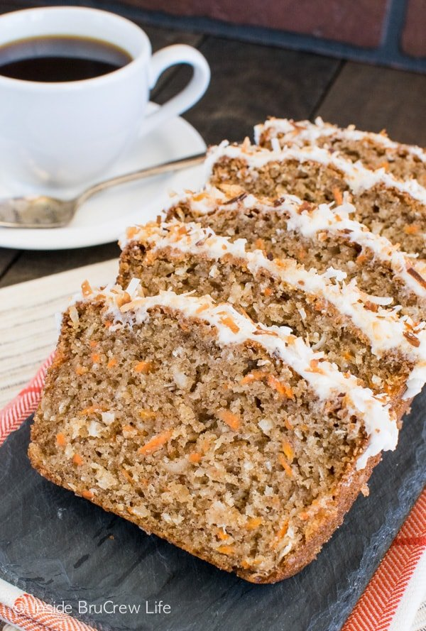 Carrot Coconut Bread recipe - this sweet bread taste just like carrot cake. It's a great way to enjoy cake for breakfast. Try this easy recipe for brunch or breakfast. #sweetbread #carrotcake #coconut #carrot #easter