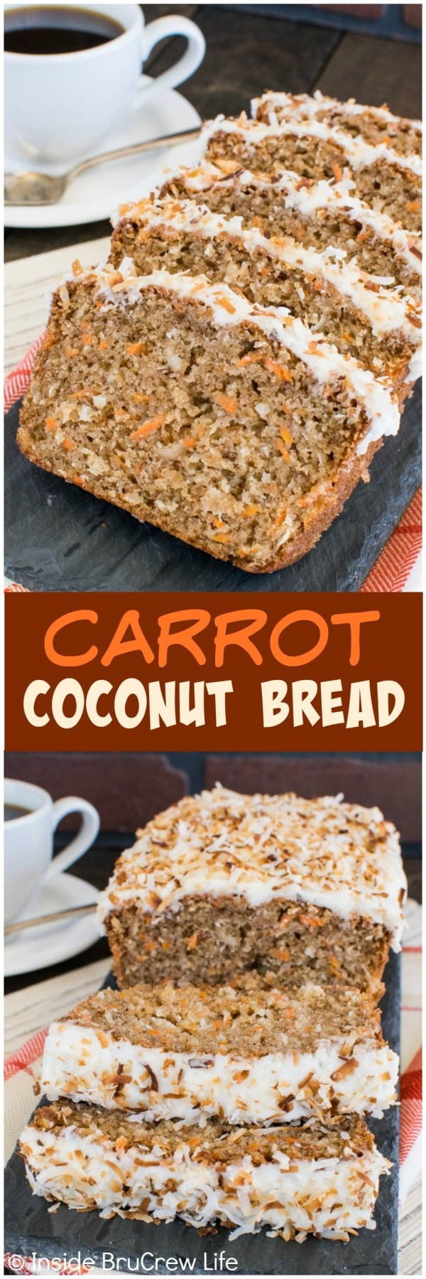 Carrot Coconut Bread - this sweet bread is loaded with plenty of carrots making it acceptable to eat cake for breakfast. Try this easy recipe for breakfast or brunch. #sweetbread #carrotcake #coconut #carrot #easter #breakfast