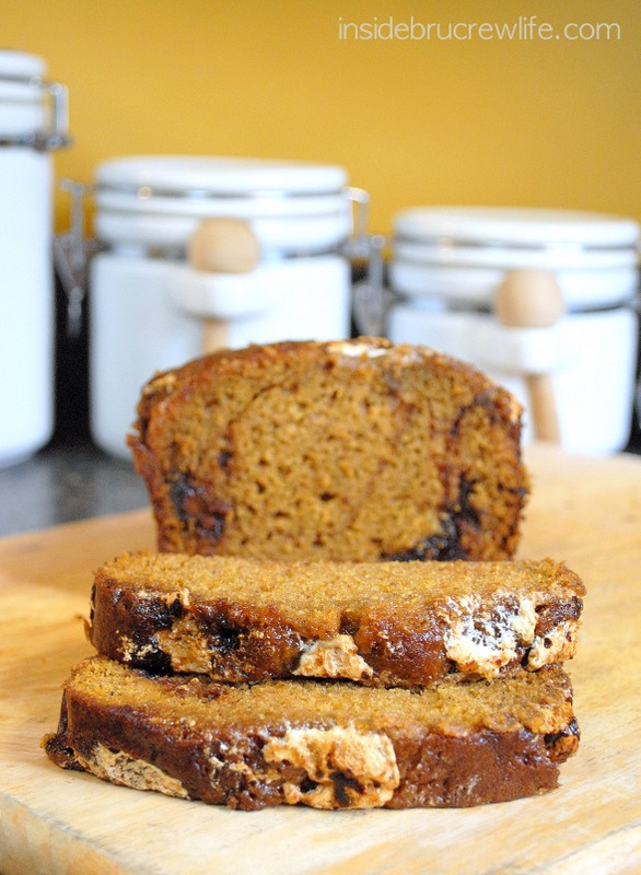 Nutella Marshmallow Pumpkin Bread - easy fall sweet bread with chocolate and marshmallow inside it
