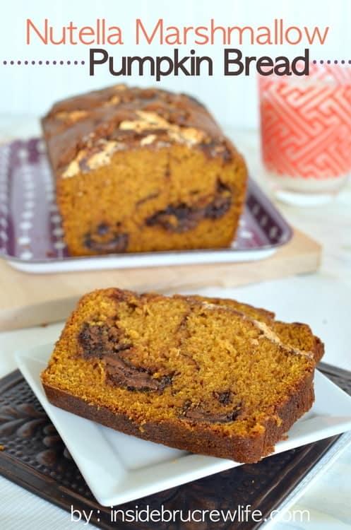 Nutella Marshmallow Pumpkin Bread - sweet pumpkin bread with swirls of Nutella and marshmallow cream. Great fall breakfast recipe!