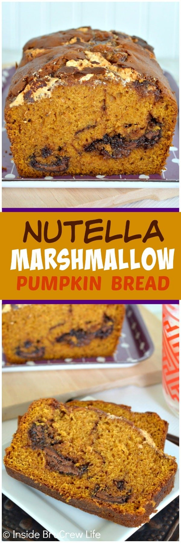 Nutella Marshmallow Pumpkin Bread - swirls of chocolate and marshmallow make this easy sweet bread a delicious fall breakfast recipe.