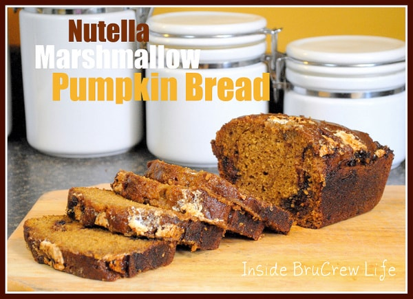 Sweet Pumpkin bread with Nutella and Marshmallow Cream swirls