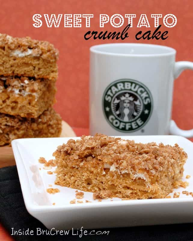 Sweet Potato Crumb Cake - sweet potato cake with a crumb topping...perfect for Thanksgiving Day breakfast   #thanksgiving #sweetpotato #cake http://www.insidebrucrewlife.com
