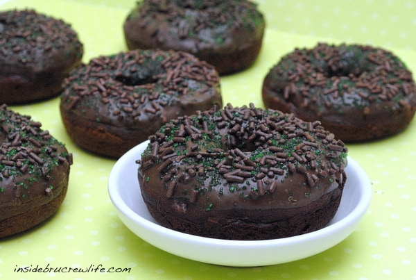 Baked chocolate donuts with a mint chocolate glaze are such a fun breakfast treat!