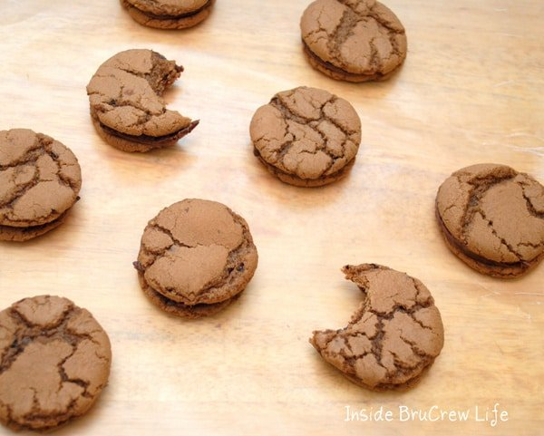 Seven Andes Mint Filled Cookies on a tan background