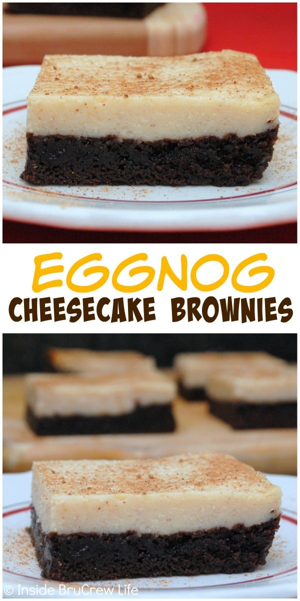 Eggnog cheesecake baked on fudge brownies makes a delicious holiday treat that you need to try!