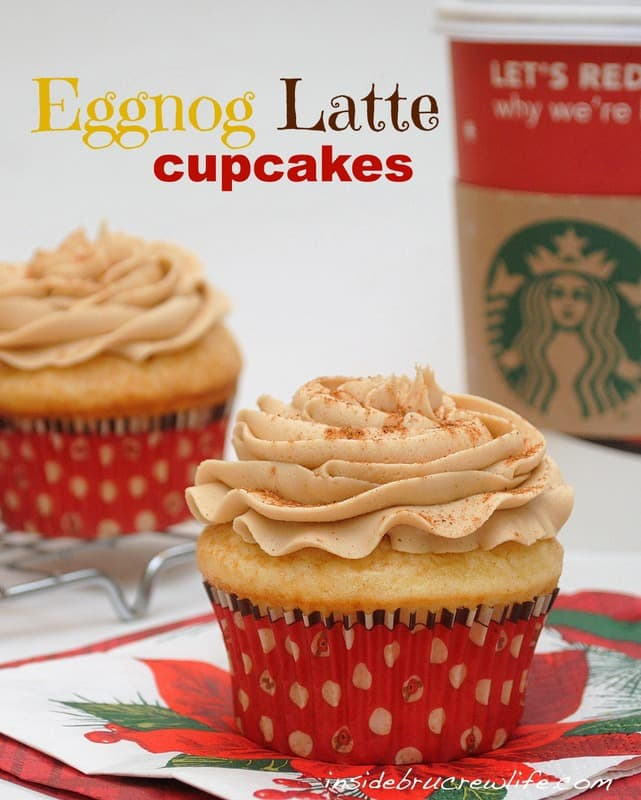 Eggnog Latte Cupcakes - vanilla cupcakes made with eggnog and topped with a coffee butter cream