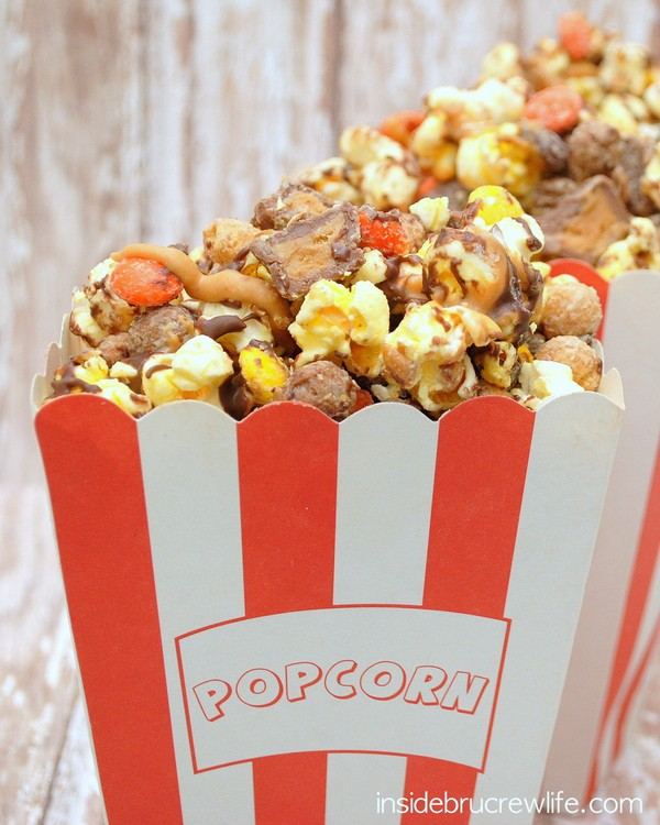 Three kinds of Reese's makes this popcorn an amazing treat.  Perfect for movie nights or giving as gifts!