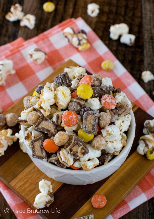 Reese's Popcorn - 3 kinds of peanut butter candies & cereal make this easy no bake snack mix a great treat to munch on!