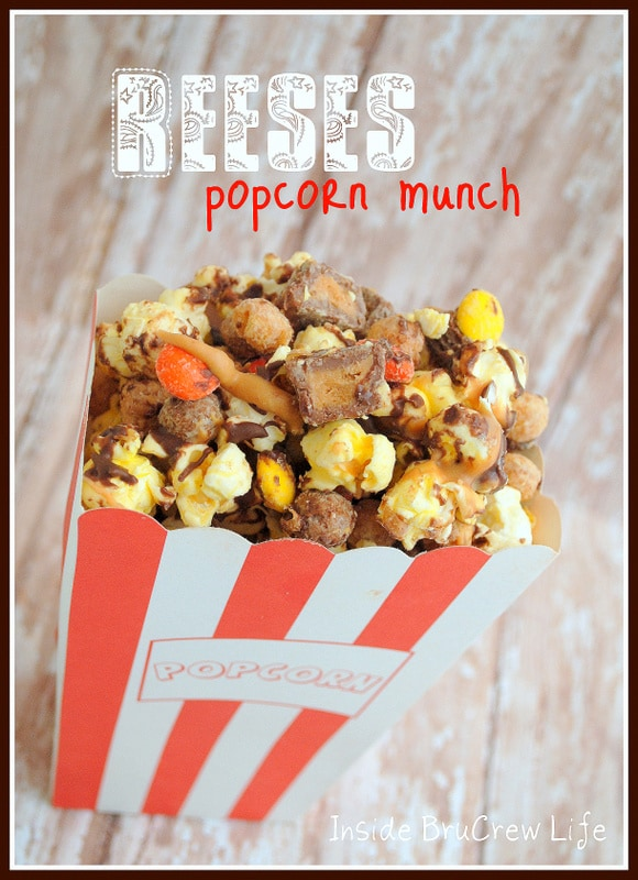 Reeses Popcorn Munch - chocolate covered popcorn filled with Reeses PB cups and pieces #reeses #popcorn https://www.insidebrucrewlife.com