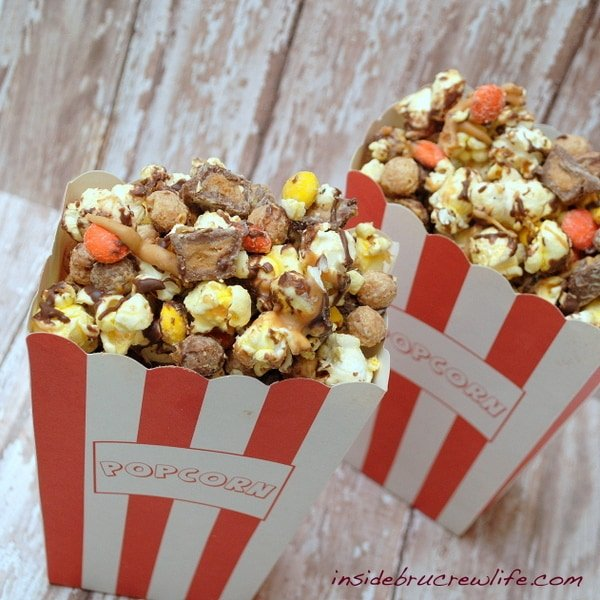 Reese's Popcorn Munch - chocolate covered popcorn with 3 kinds of Reese's
