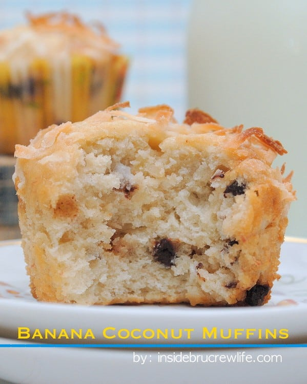 These soft banana muffins with toffee and coconut are a delicious breakfast choice.