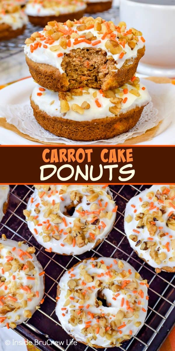Carrot Cake Donuts - these soft baked donuts with cream cheese frosting is the best way to enjoy carrot cake for breakfast. Try this easy recipe for Easter breakfast. #donuts #bakeddonuts #carrotcake #Easter #breakfast