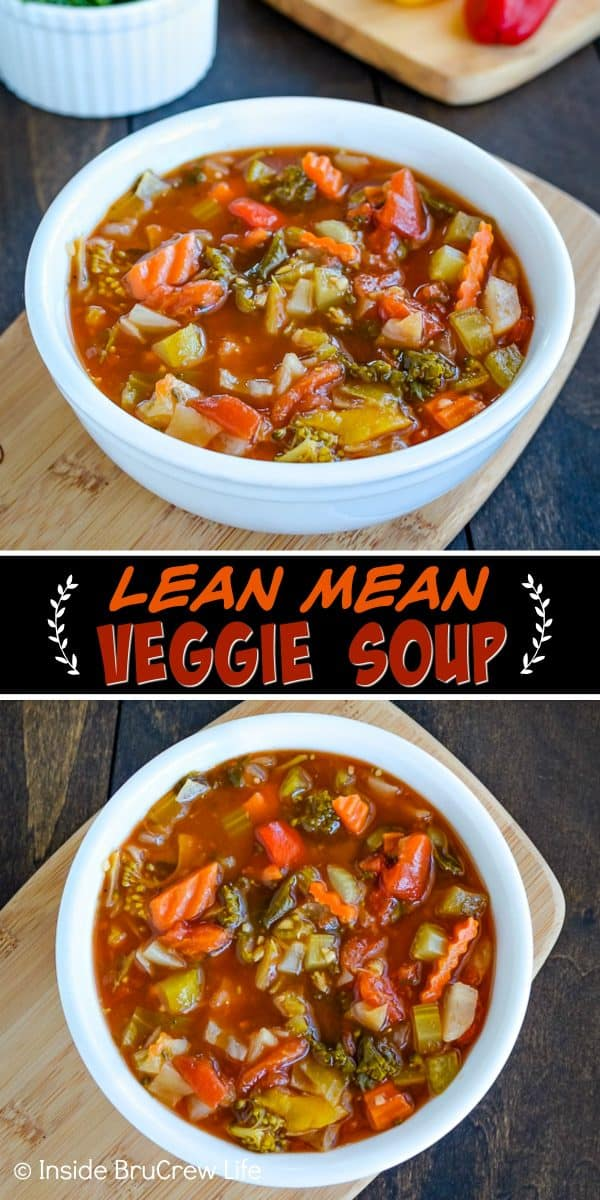 Lean Mean Veggie Soup - use your favorite vegetables to make a pot of this healthy detox soup. This easy recipe is packed with vitamins and minerals and tastes great! #detoxsoup #weightlosssoup #vegetablesoup #soup