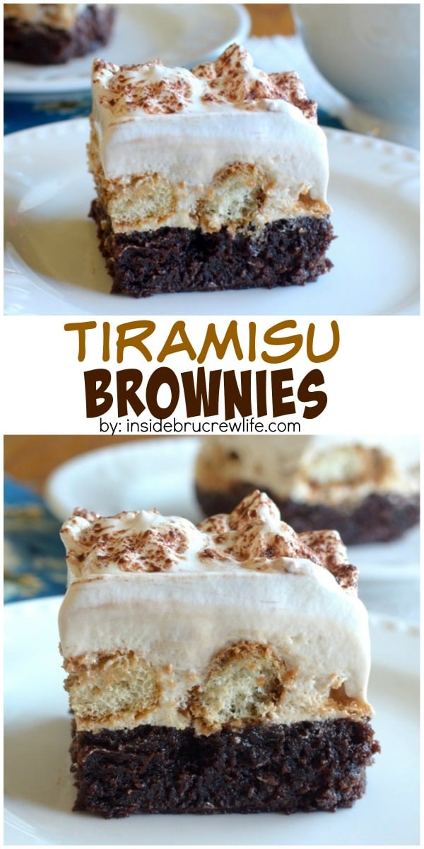 Tiramisu Brownies - coffee cheesecake and coffee dipped cookies are an amazing dessert!
