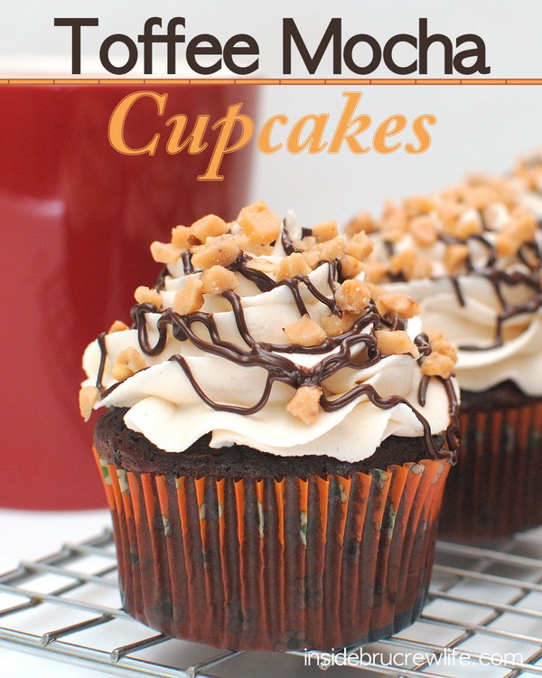 Toffee Mocha Cupcakes - chocolate mocha cupcakes topped with a Toffee Butter Cream and toffee pieces http://www.insidebrucrewlife.com