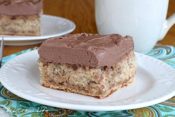 Best Banana Cake with Hot Fudge Frosting