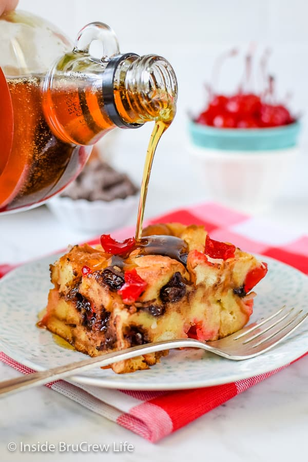 Cherry Chocolate French Toast Bake - this easy breakfast casserole is loaded with chocolate and cherries. It's a delicious choice for breakfast or brunch! #frenchtoast #breakfast #casserole #mothersday #cherry