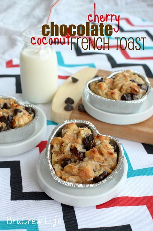 Cherry Chocolate French Toast Bake from www.insidebrucrewlife.com - chocolate and cherries give this french toast bake a fun twist
