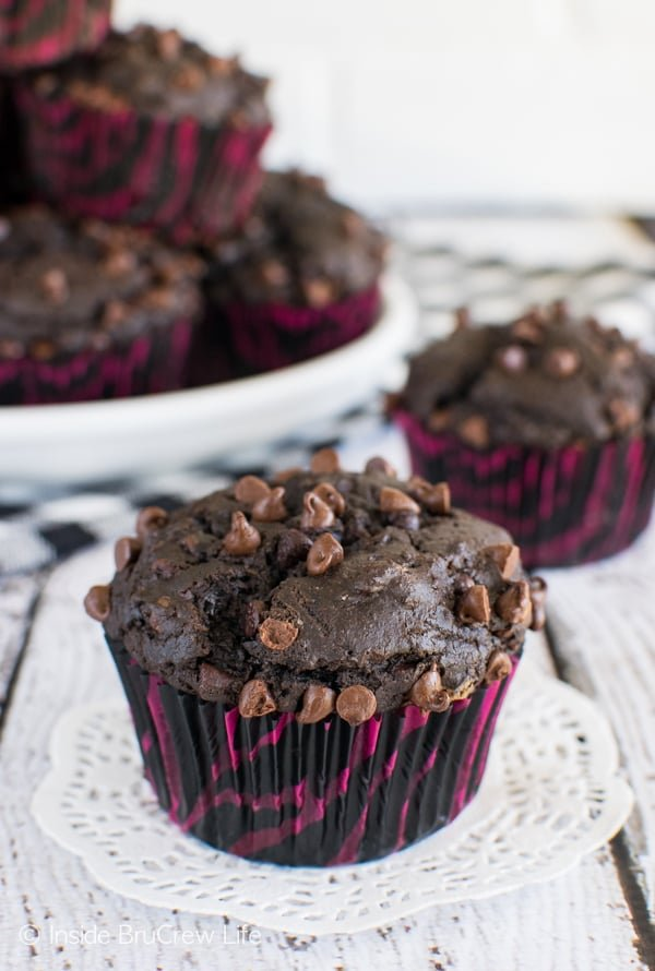 Chocolate Mocha Muffins - dark chocolate muffins loaded with mini chocolate chips makes a great breakfast recipe. Make this recipe ahead of time for quick and easy breakfast treats.