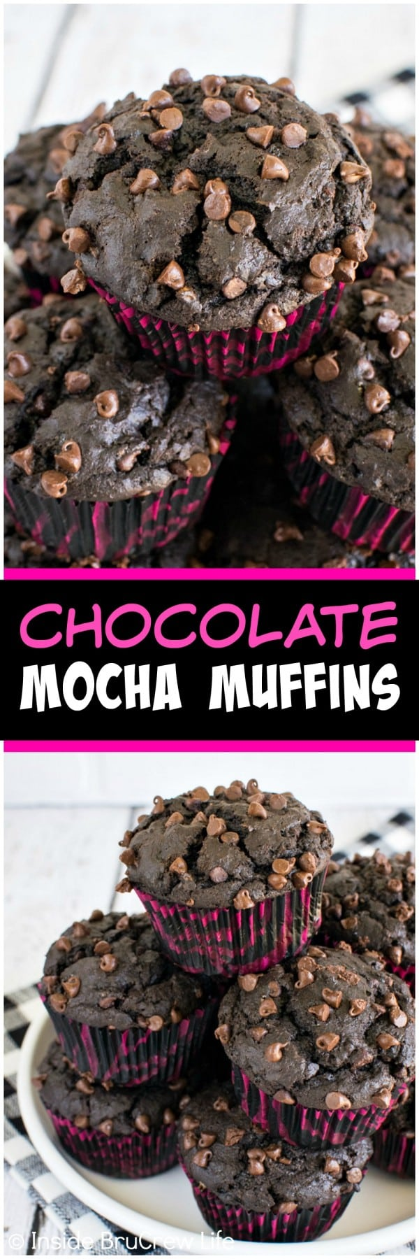 Chocolate Mocha Muffins - two times the chocolate in these muffins makes them irresistible! Make this recipe for a quick and easy breakfast.