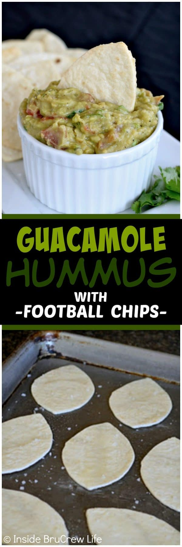 Guacamole Hummus with Football Chips - this chunky and spicy appetizer is made by combining our two favorite dips into one amazing snack. Homemade football chips make this a great recipe for game day parties.
