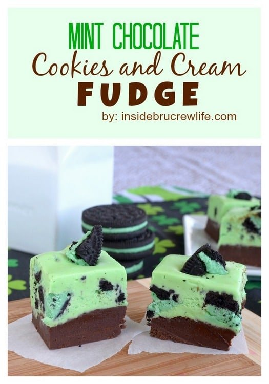 Chocolate fudge topped with a mint Oreo cookie fudge