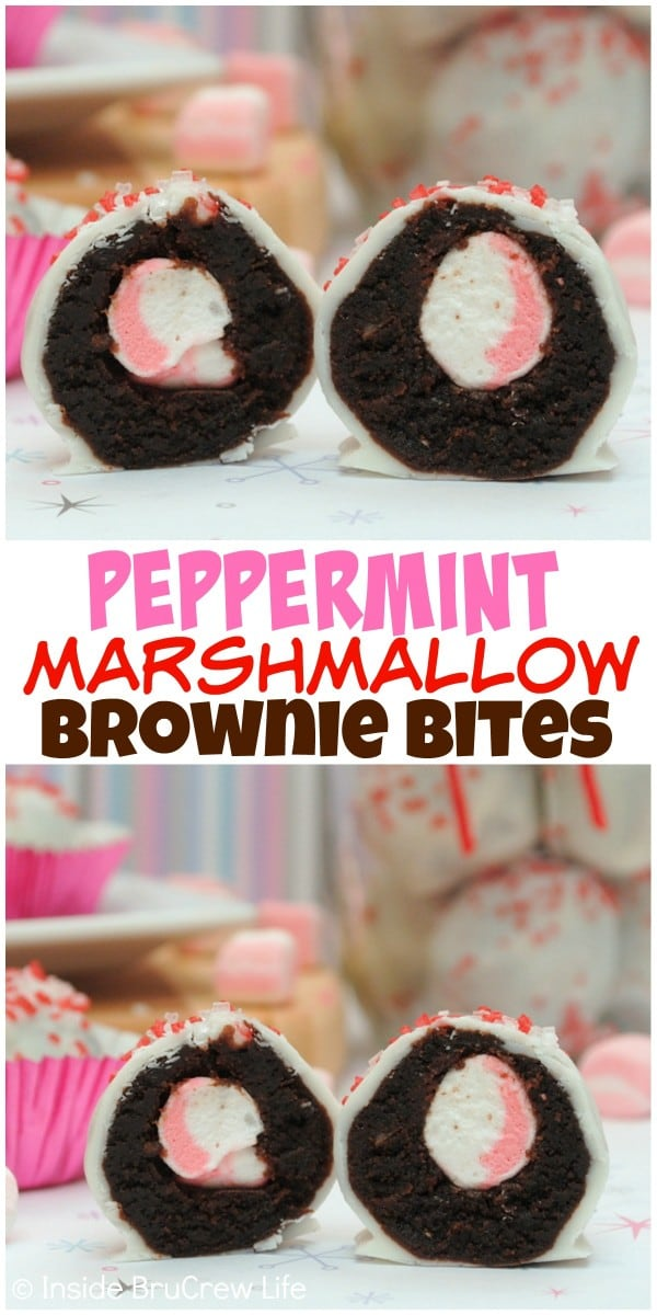 Hiding peppermint marshmallows inside brownie bites and covering them in white chocolate is a very good idea!